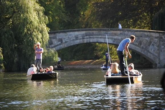 Punting en Cambridge.